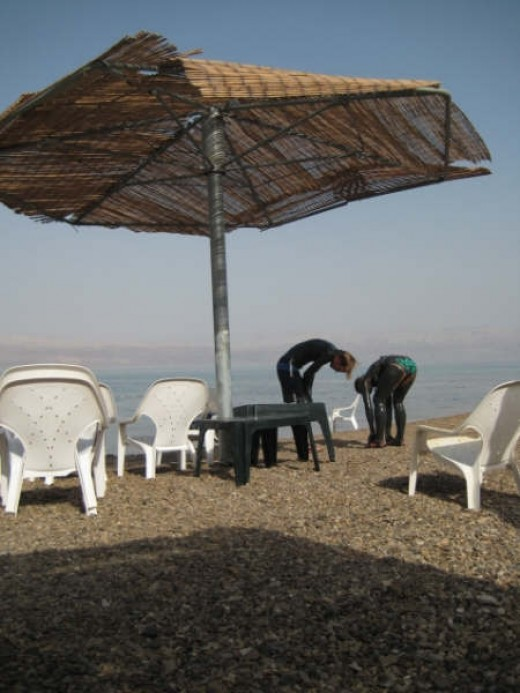 Dead Sea beach, Israel. (c) this writer