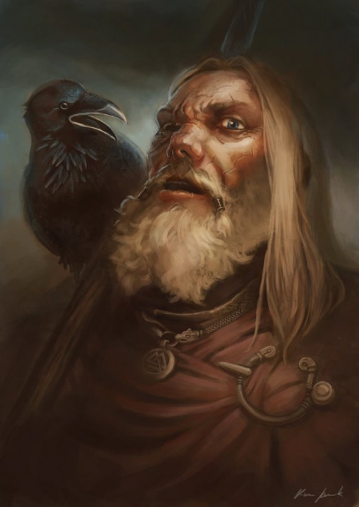 The Allfather - Odin and one of his two ravens, Huginn and Muninn (Thought and Memory), two of his messengers who brought news from the Nine Worlds