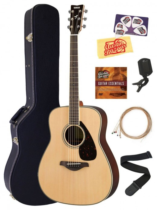 Affordable 6-string acoustic that is an excellent starter for beginners. The Yamaha FG830 is a well constructed guitar, I especially love the solid sitka spruce top and the developed scalloped bracing. A great value buy.