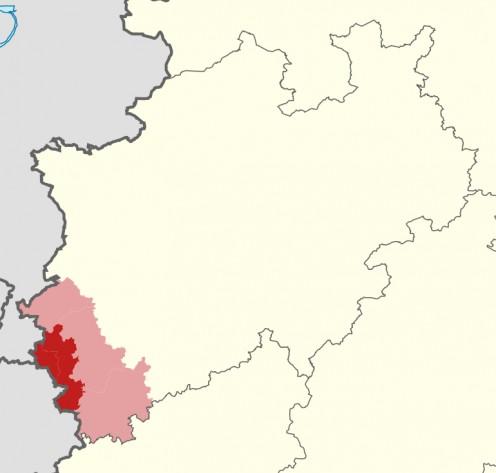 Map of Region Aachen in North Rhine-Westphalia, Germany.