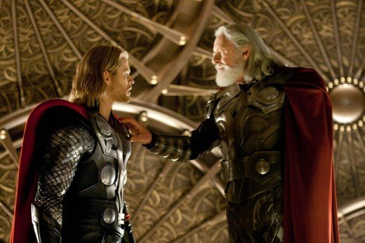 Courtesy of Marvel Studios. Thor, second born of Odin and former leader of the armies of Asgard and current king.  Despite a rocky relationship, he managed to learn the restraint Odin passed on to him.