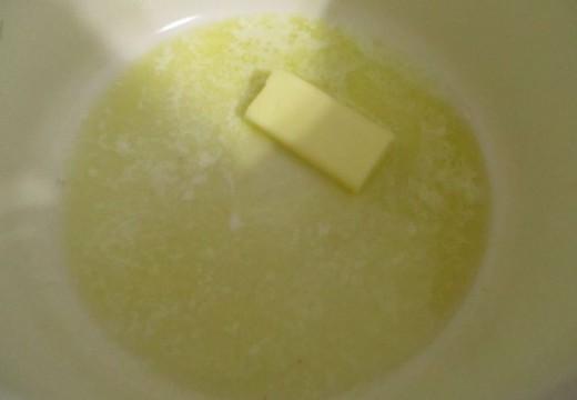 melt 1/2 a stick of butter in pan