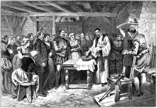 A drawing of the baptism of the first English child born in the United States - Virginia Dare. She would go missing along with the rest of her family not long after.