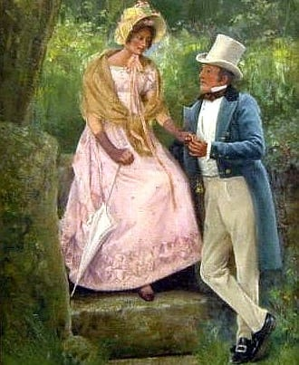 The Engagement (oil on canvas) by Percy Robert Craft