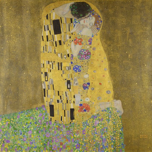 The Kiss by Gustav Klimt uses real gold. It was created just before the outbreak of World War One. Is there a story here about wealth and decadence vs death and destruction?