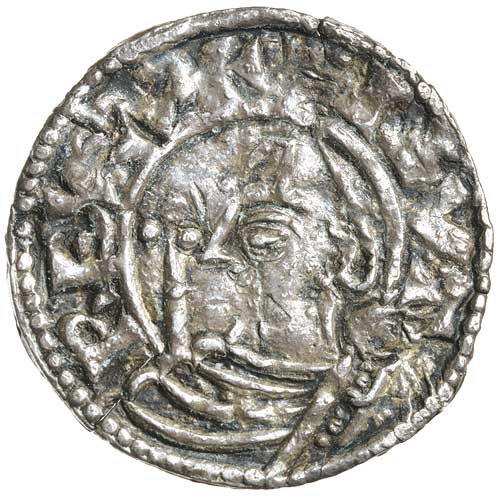 An early minted coin to confirm Knut's sole reign in England. Soon after that he would rule Denmark as well when older brother Harald died. Knut was still in his teens.