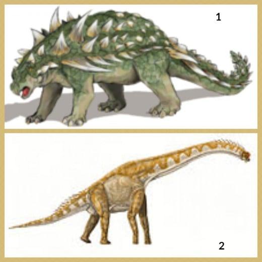 1. Gastonia Dinosaur 2. Giraffatitan Dinosaur