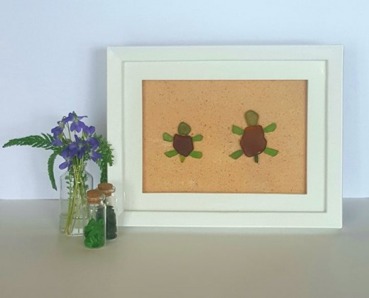 Beautiful One Of A Kind Sea Glass Turtles. Made With Genuine Green And Brown Sea Glass & Sand!