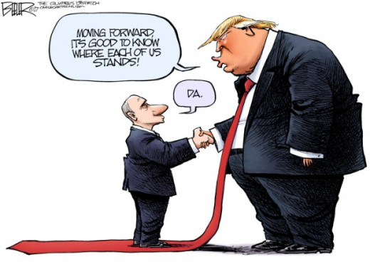 A Cartoon of Donald Trump meeting with Vladimir Putin.