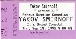Ticket to Yakov Smirnoff Show in Branson, Missouri