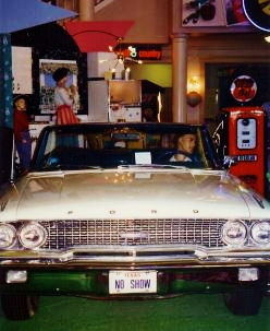 In the lobby of The Grand Palace is hundreds of 1950s & 1960s memorabilia like this George Jones' 1963 Ford Galaxy convertible.