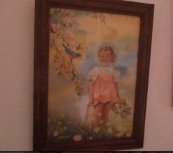 Art Collecting: Little Girl With Bluebird Framed Art