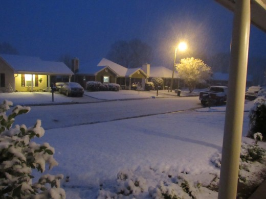 This is what I saw when I opened my front door: snow!