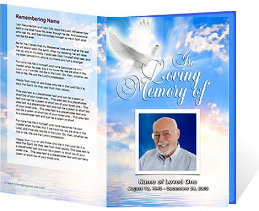 A great example of a beautiful funeral program created for a cremation service courtesy of The Funeral Program Site.