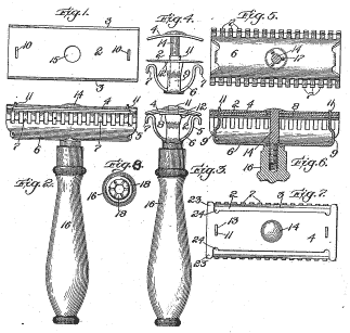 The patent drawing of Gillette's safety razor