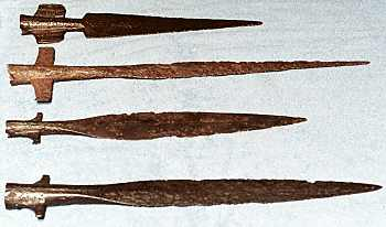 A selection of spear heads - some were produced for throwing spears, these stabbing spearheads were prized possessions and never left the owner's grip