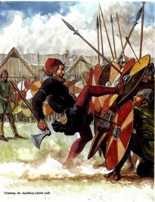 Again, what was important was that shieldwalls withstood counter-attack. The agile man on the left is here to expose weaknesses. A weakness in the shieldwall might be exploited by the enemy. By rights he shouldn't have been able to get this close!