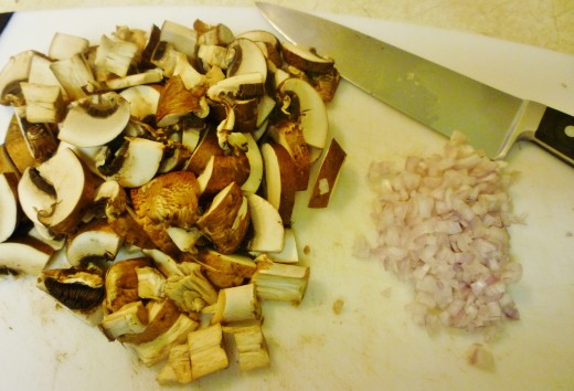 Sliced mushrooms and chopped shallot