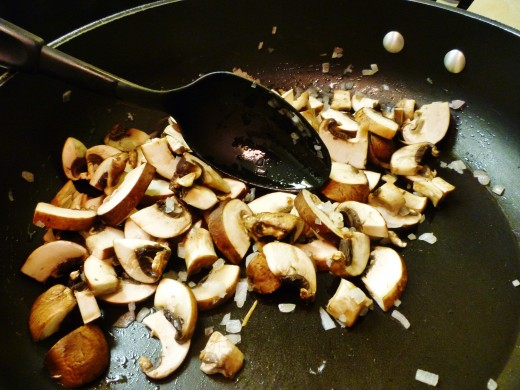 Adding the mushrooms