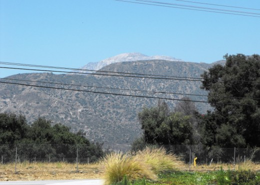 Mt. Baldy, chaparral covered foothills, and Live Oak trees. At this spot the mountains are no longer visible from the road. A new preschool has been built in the big chunky style that is popular in the 21st century.