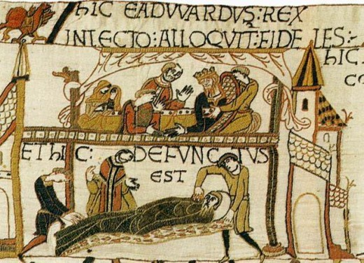 This is how Eadward's death late AD 1065 is commemorated in the Bayeux Tapestry