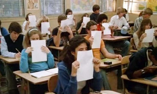 Jennifer Jason Leigh (second row left) and classmates would rather sniff freshly mimeographed paper rather than take one of Mr. Hand's quizzes in Fast Times at Ridgemont High