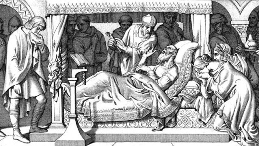 The court is in attendance in Eadward's bedchamber - was the old king cajoled by Harold to yield the crown to him rather than the relatively unknown aetheling Eadgar? The Witan in general backed Harold's kingship