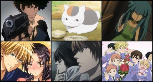 (From Top-Bottom To Left-Right) Cowboy Bebop, Natsume Yuujinchou, Higurashi When They Cry, Kaichou wa Maid-sama!, Death Note, Ouran High School Host Club