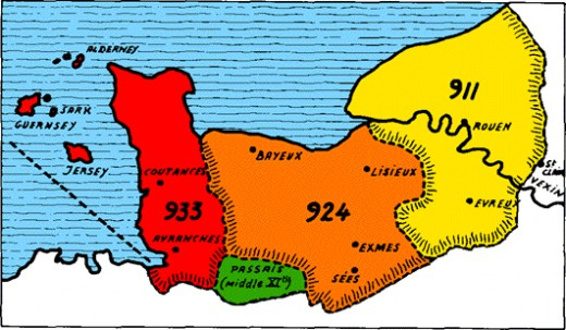 The once fledgling county of Normandy expanded rapidly throughout the 10th Century. By 1066 it spanned both seaward banks of the Seine and bordered on Brittany to the south-west