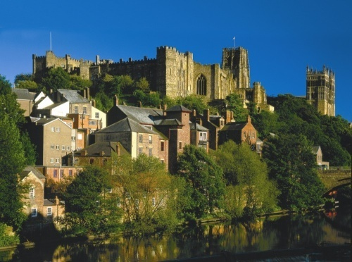 Durham Castle and Cathedral, fairly contemporary structures seen from the south bank towpath of the River Wear