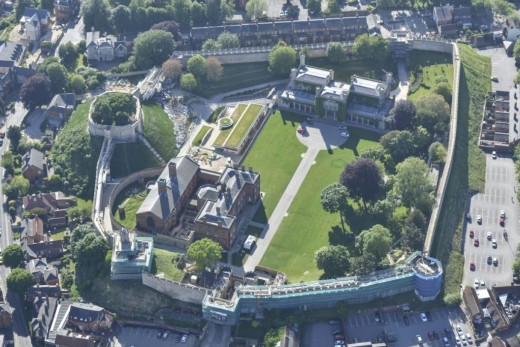 Aerial view of Lincoln Castle, built and re-built over several centuries by successive bishops