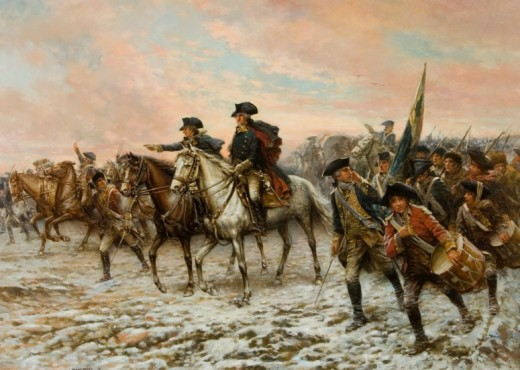 Painting of George Washington and his troops marching toward Trenton by  Edward Percy Moran