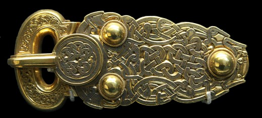 Anglo-Saxon golden belt buckle from the Sutton Hoo ship-burial, Suffolk (England). 7th century AD. Original displayed in the British Museum.