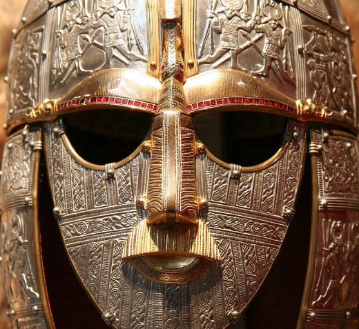 Replica of the face-mask helmet from the Sutton Hoo ship-burial, England.