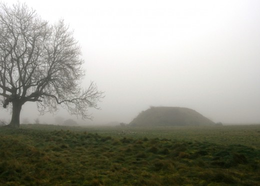 Midwinter at the burial mound, Sutton Hoo.
