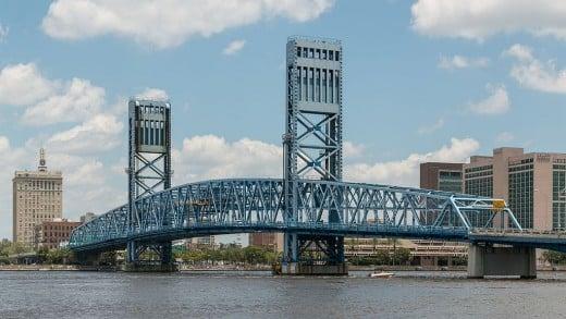 Main Street Bridge (Jacksonville, Florida). It is official named the John T. Alsop Jr. Bridge and crosses the St. Johns River.