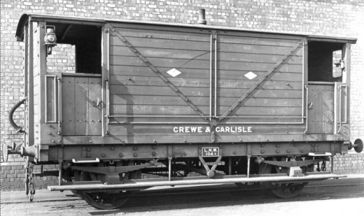 4-wheel L&NWR mineral brake designated 'Crewe-Carlisle - high quality Cumbrian ironstone was transported within the LNWR system and beyond, into the NER or L&YR  networks