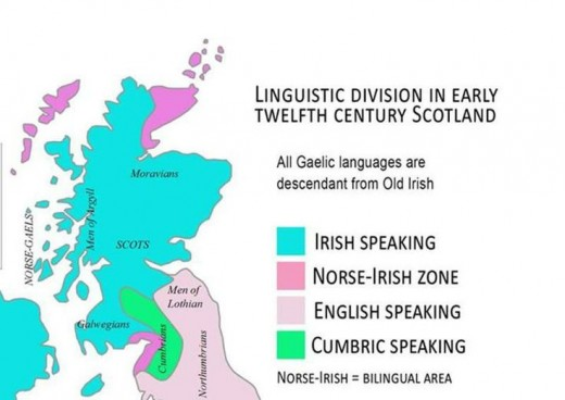 Language regions of Scotland, AD 1100