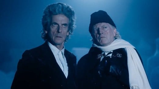 The original Doctor (David Bradley) joins his future self (Peter Capaldi) as they refuse to face their futures  in the 2017 Doctor Who Christmas special Twice Upon a Time