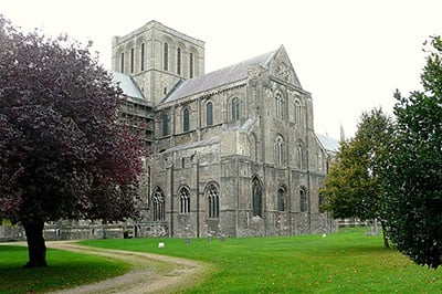 Winchester cathedral - so good someone wrote a song about it in the late 60s - shows strong Norman influence. There is an older cathedral as well, where Knut  and Emma were entombed