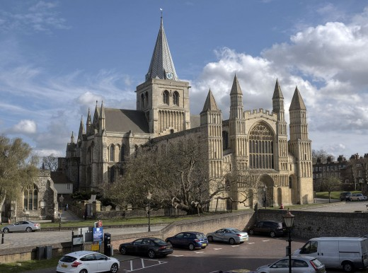 Bishop Odo's Rochester Cathedral was built in addition to his castle close by. A close look around the door shows strong Romanesque features