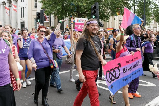 Bisexual people in the parade at Pride in London 2016 by Katy Blackwood