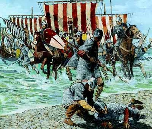 """William stumbles on landing at Pevensey Bay west of Hastings and clutches a handful of pebbles, """"Lord you hold England"""", one of his knights tells him."""