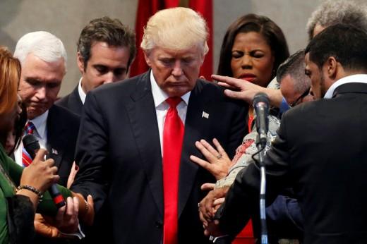 Evangelicals lay hands on Trump