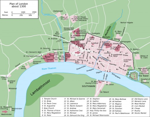 From Norman times, through Angevin and into the Plantagenets' reigns, this is an expanding London in trade and importance over the Wessex dynasty's capital Winchester