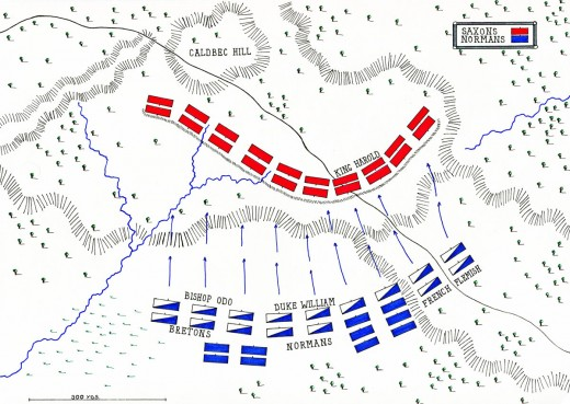 Battle lines drawn - William's Norman and allied positions at the outset of fighting on Caldbec Hill