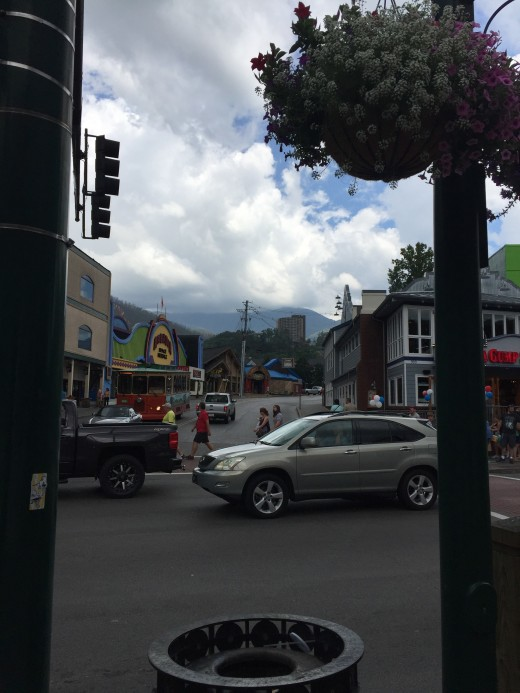 Downtown Gatlinburg with view of Park Vista in the distance