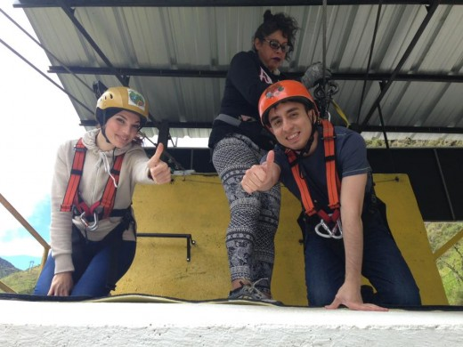 My boyfriend and I ready to jump in one the highest canopies in Ecuador. Baños.