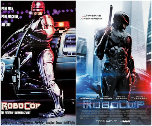Posters for the 1987 original and 2014 remake