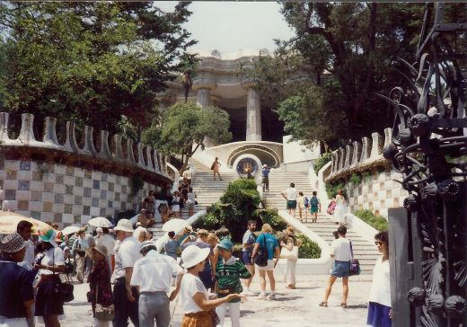 Entrance view of Guell Park in Barcelona, Spain